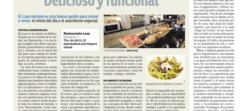 Restaurante Lasa en el diario el Nervión